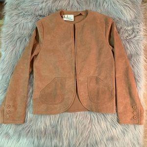 Vintage Mauve Pink Suede Crop Jacket